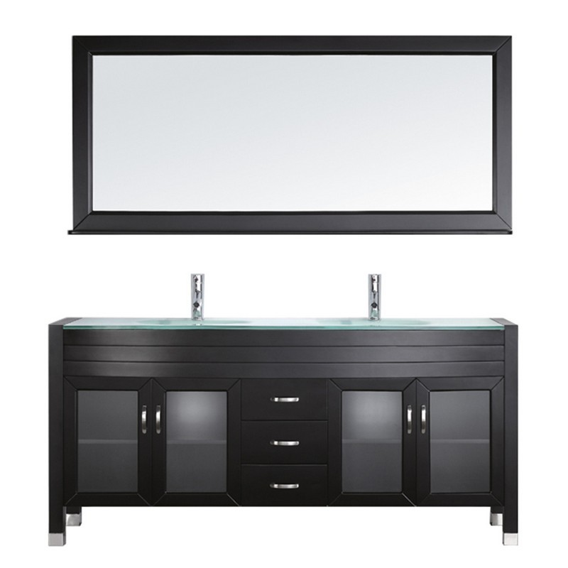VIRTU USA UM-3073-G-ES AVA 71 INCH DOUBLE BATH VANITY WITH AQUA TEMPERED GLASS TOP AND ROUND SINK WITH POLISHED CHROME FAUCET AND MIRROR
