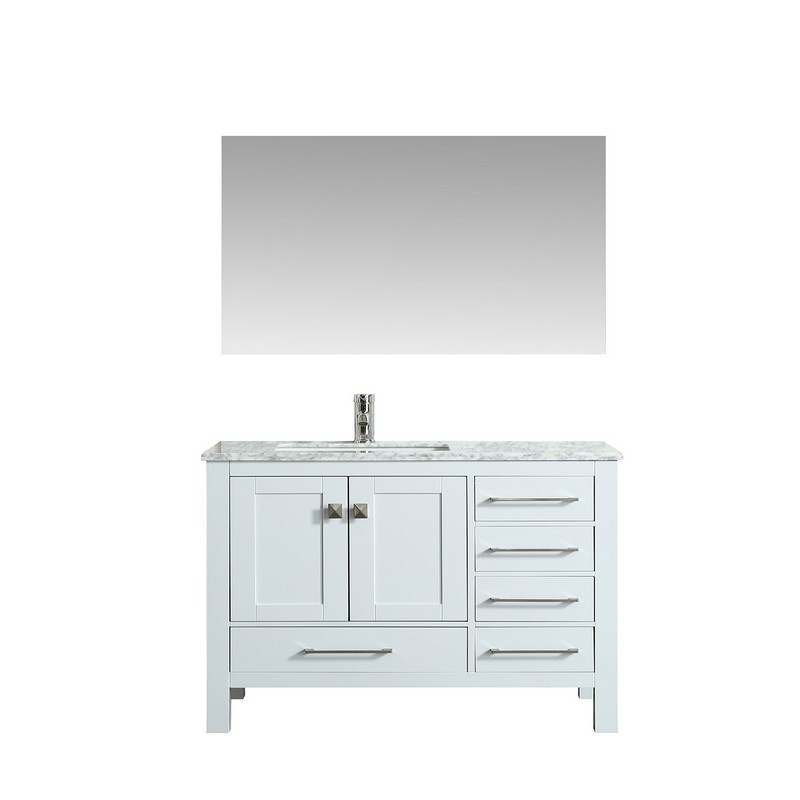 Eviva Tvn414 42x18wh London 42 Inch Transitional Bathroom Vanity With White Carrara Marble Countertop White
