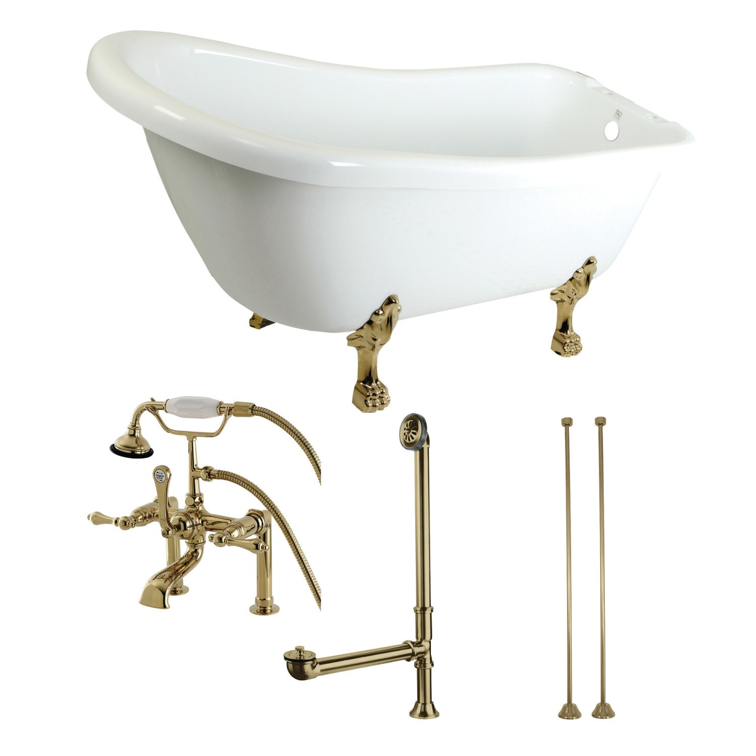 Kingston Brass Slipper 69-inch Acrylic Clawfoot Tub with Faucet Combo White//Brushed Nickel