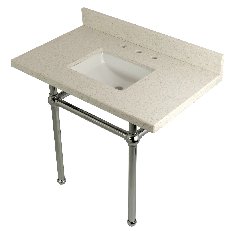 Kingston Brass Kvpb3630wqbsq1 Templeton 36 X 22 Inch White Quartz Vanity With Sink And Brass Feet Combo Kingston