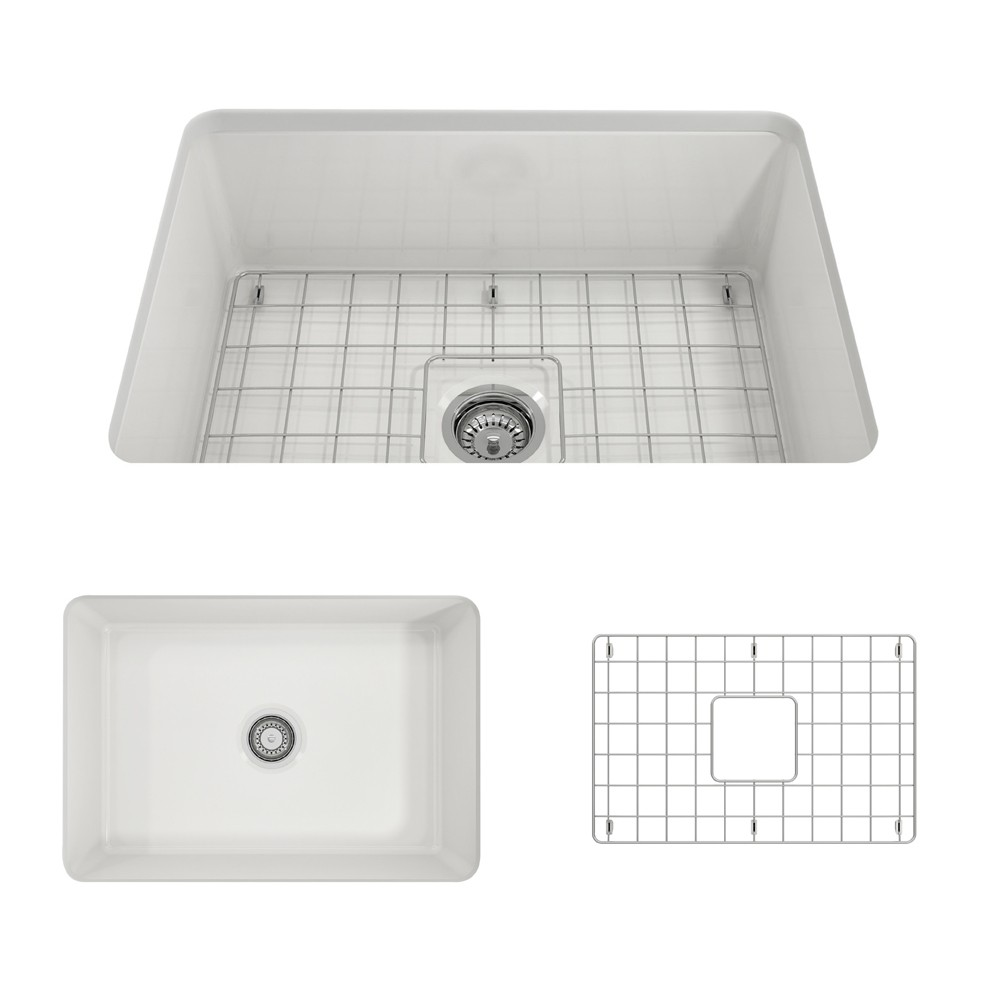 Bocchi 1360 001 0120 Sotto 27 Inch Undermount Fireclay Single Bowl Kitchen Sink Bocchi 1360 002 0120 Sotto 27 Inch