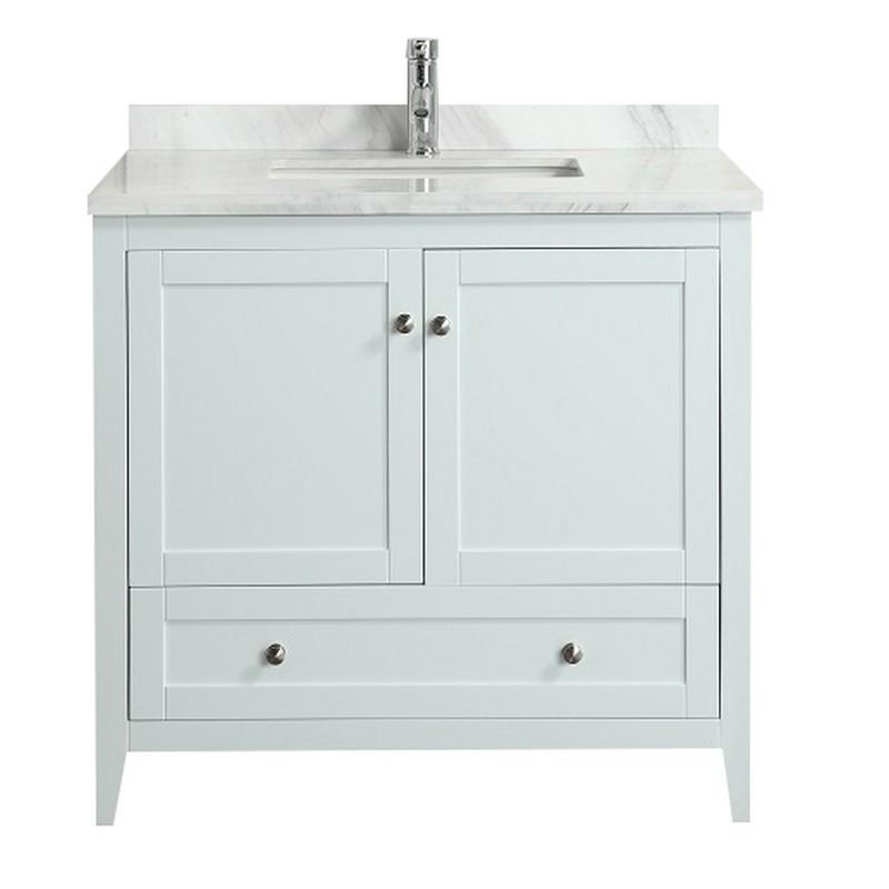 Eviva Evvn07 36bl Mrb Lime 36 Inch Bathroom Vanity With White Jazz Marble Carrera Top Eviva Evvn07 36gr Mrb Lime 36