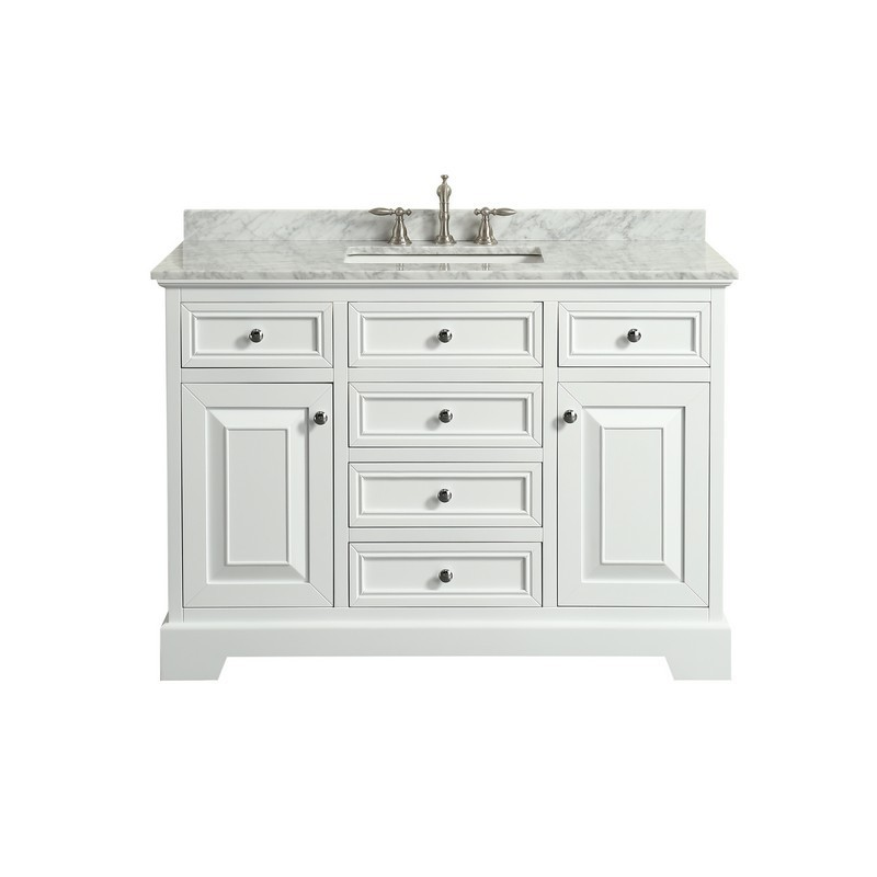 Eviva Evvn123 48wh Monroe 48 Inch Bathroom Vanity With White Carrara Marble Top And Undermount Porcelain Sink Eviva