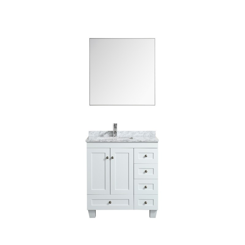 Eviva Evvn30 30x18wh Happy 30 X 18 Inch Transitional Bathroom Vanity With White Carrera Marble Counter Top Eviva
