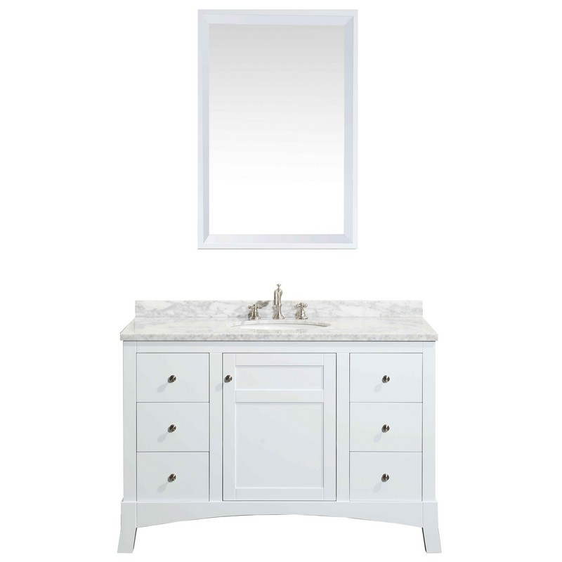 Eviva Evvn514 42wh New York 42 Inch Bathroom Vanity With White Marble Carrera Counter Top And Sink Eviva