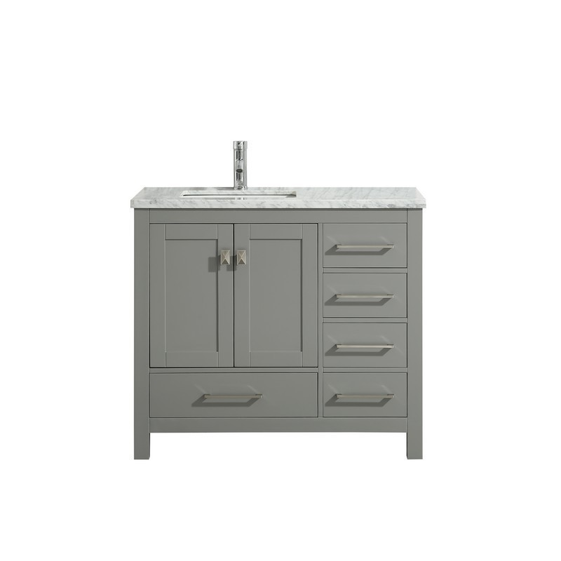 Eviva Tvn414 36x18wh London 36 Inch Transitional Bathroom Vanity With White Carrara Marble Countertop Eviva