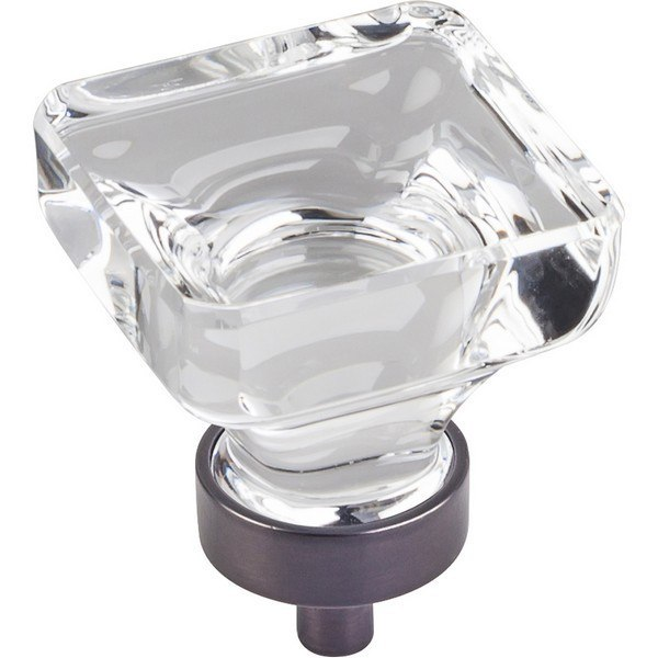 HARDWARE RESOURCES G140L JEFFREY ALEXANDER HARLOW COLLECTION 1-3/8 INCH OVERALL LENGTH GLASS SQUARE CABINET KNOB