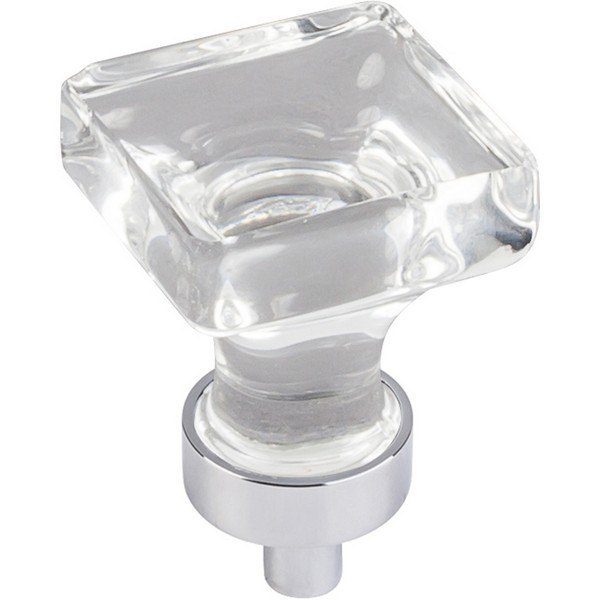 HARDWARE RESOURCES G140 JEFFREY ALEXANDER HARLOW COLLECTION 1 INCH OVERALL LENGTH GLASS SQUARE CABINET KNOB