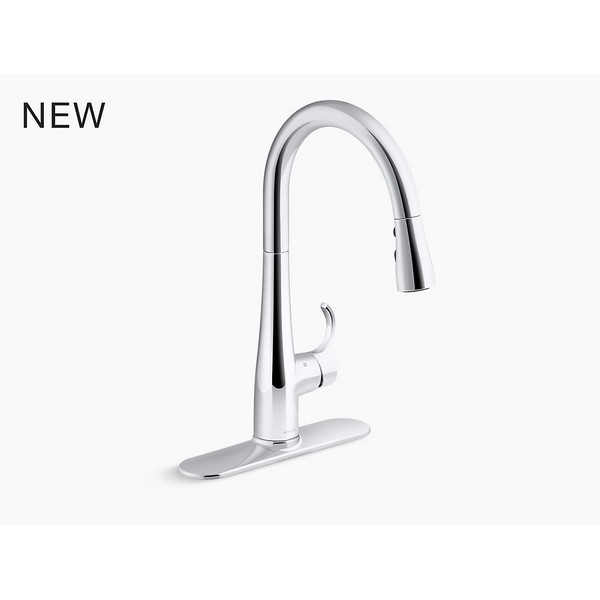 Kohler 22036 Cp Simplice 1 5 Gpm Single Hole Pull Down Kitchen Faucet With Docknetik Sweep Spray Boost Temperature