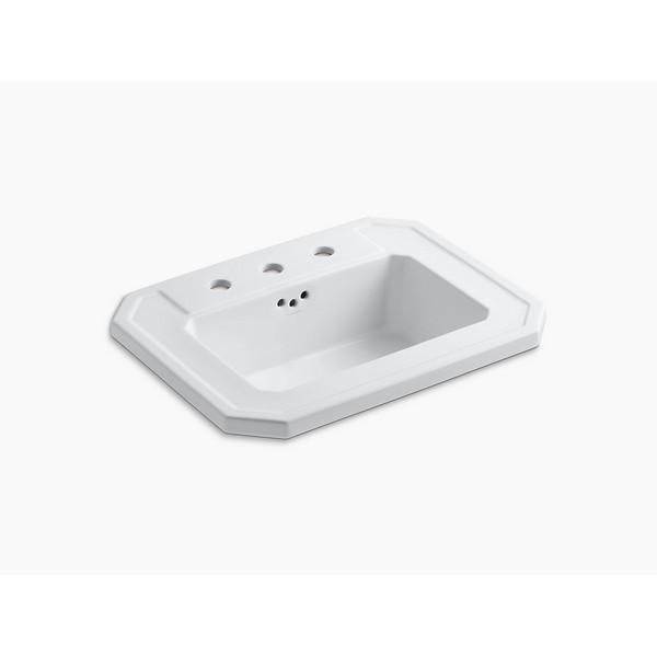 Kohler 2325 8 Kathryn 17 Inch Drop In Bathroom Sink With 3 Holes Drilled And Overflow Sandbar