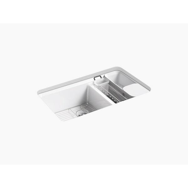 Kohler 8669 5ua3 Riverby 33 Inch Undermount Double Basin Cast Iron Kitchen Sink Almond