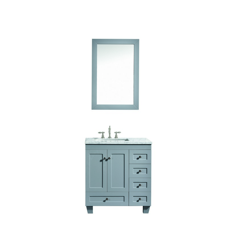 Eviva Evvn69 28 Acclaim 28 Inch Transitional Bathroom Vanity With White Carrara Marble Countertop And Undermount