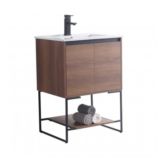 Fine Fixtures Opur24wa Urbania Ii 24 Inch Leg Mount Single Bath Vanity With Sink Walnut