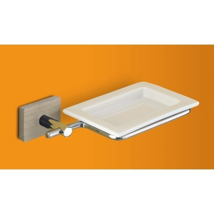 GEDY 6611-25 MINNESOTA WALL MOUNTED SQUARE PORCELAIN SOAP DISH