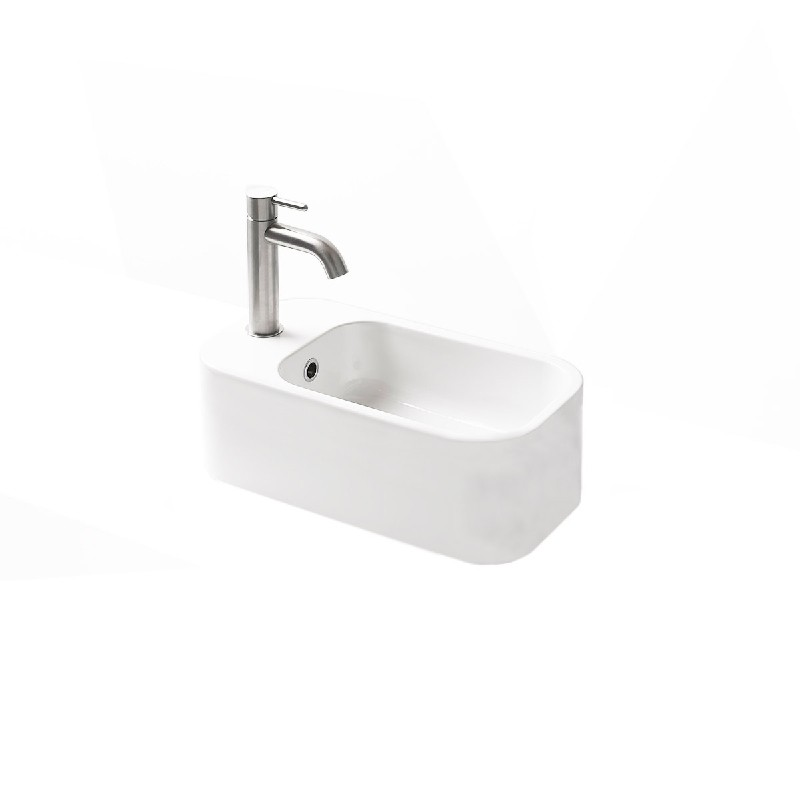 Ws Bath Collections Cosa Mini 48f 86103f Wg 18 7 8 Inch Wall Mount Or Vessel Bathroom Sink With Front Faucet Hole