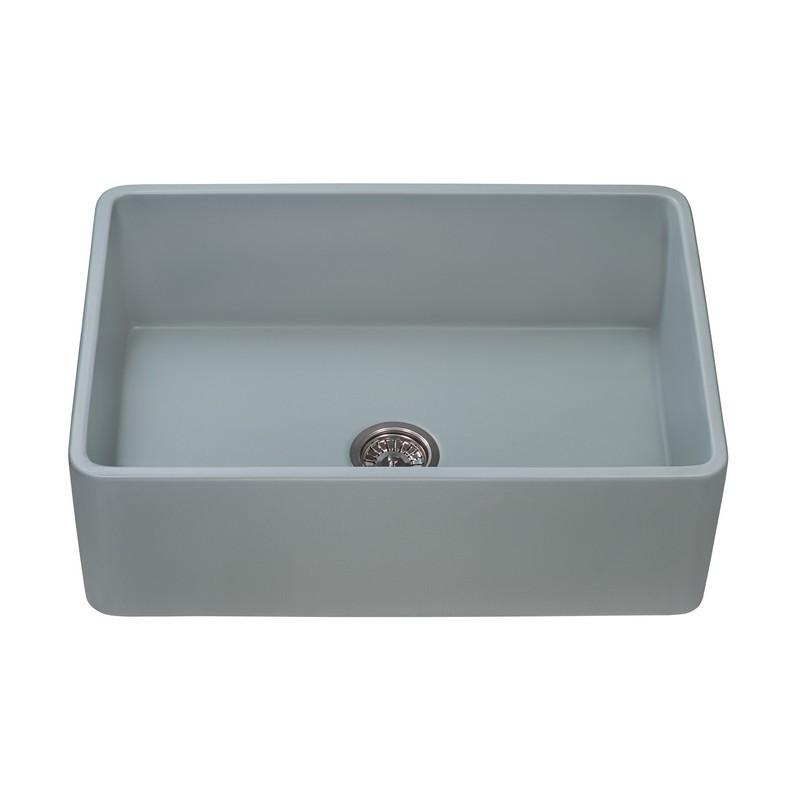 Ruvati Rvl2100gr Fiamma 30 X 20 Inch Fireclay Reversible Farmhouse Apron Front Kitchen Sink Single Bowl Horizon Gray