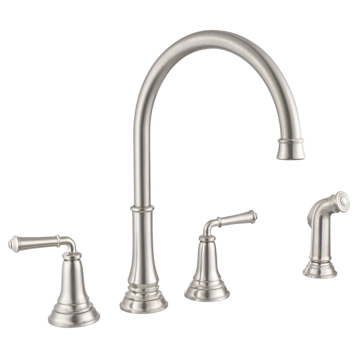 American Standard 4279 410 Delancey 2 Handle Kitchen Faucet With High Arc Brass Swivel Spout And Side Spray