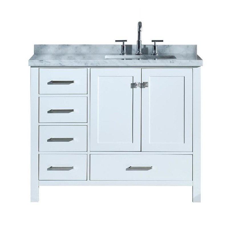 Ariel A043srcwrvowht Cambridge 43 Inch Right Offset Single Rectangle Sink Vanity Ariel A043srcwrvoesp Cambridge 43