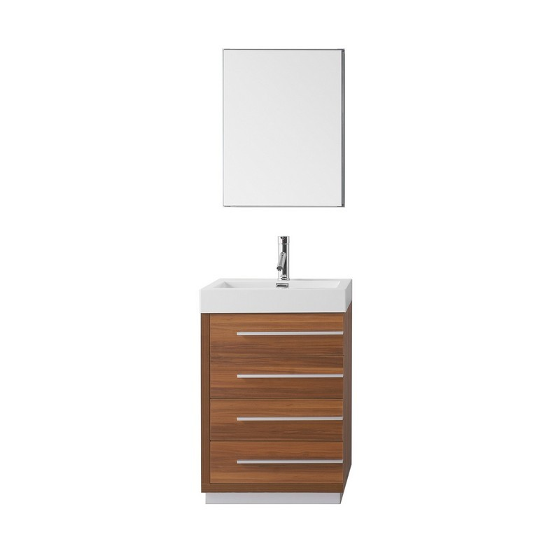 Virtu Usa Js 50524 Pl 001 Bailey 24 Inch Single Bath Vanity With White Polymarble Top And Square Sink With Brushed