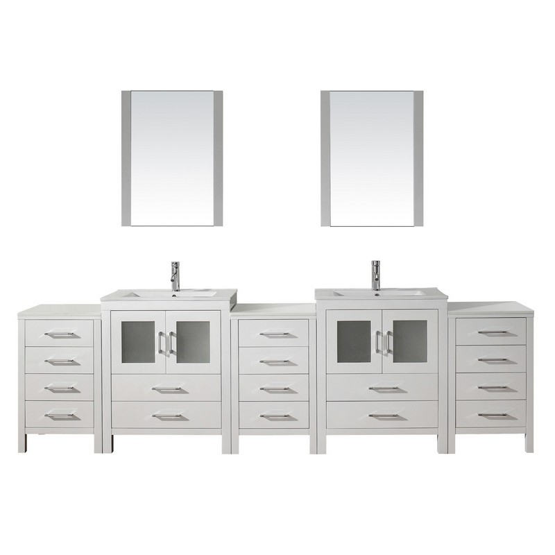 Virtu Usa Kd 700110 C Wh Dior 110 Inch Double Bath Vanity With Slim White Ceramic Top And Square Sink With Polished