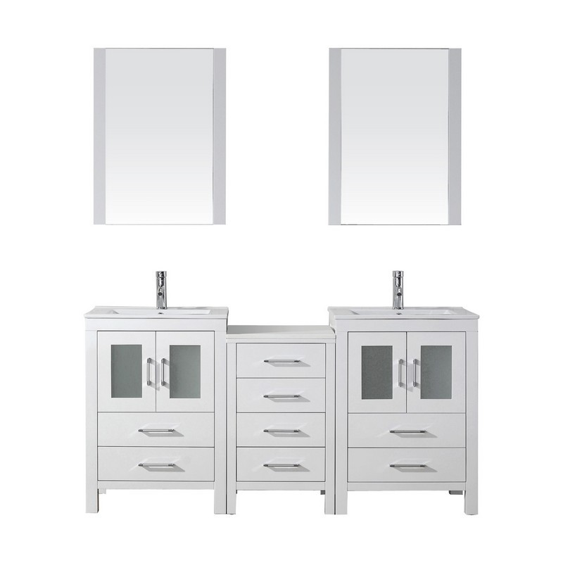 Virtu Usa Kd 70066 C Wh 001 Dior 66 Inch Double Bath Vanity With Slim White Ceramic Top And Square Sink With Brushed