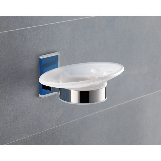 GEDY 7811-05 MAINE WALL MOUNTED ROUND FROSTED GLASS SOAP DISH WITH MOUNTING