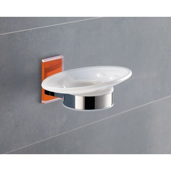 GEDY 7811-67 MAINE WALL MOUNTED ROUND FROSTED GLASS SOAP DISH WITH MOUNTING