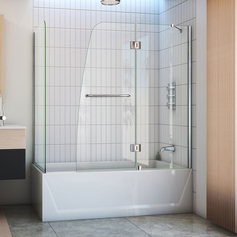 H Frameless Hinged Tub Door with Extender Panel in Chrome W x 58 in DreamLine Aqua 56-60 in SHDR-3148586-EX-01