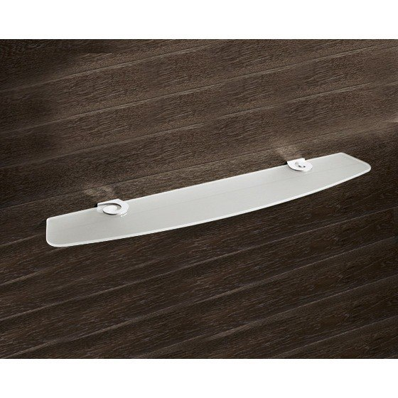 GEDY 3319-60-13 SISSI 24 X 5 INCH ROUND SATINIZED GLASS BATHROOM SHELF WITH CLIPS