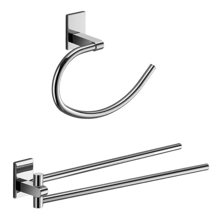 GEDY MNE1270-13 MAINE AND CHROME TOWEL RING AND SWIVEL TOWEL BAR SET
