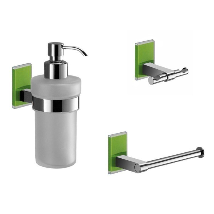 GEDY MNE226-04 MAINE WALL MOUNTED 3 PIECE AND CHROME ACCESSORY SET