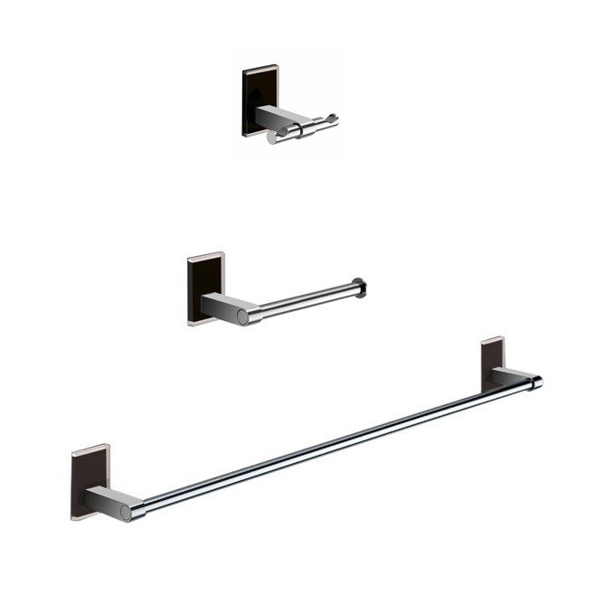 GEDY MNE321-14 MAINE WALL MOUNTED 3 PIECE AND CHROME ACCESSORY SET