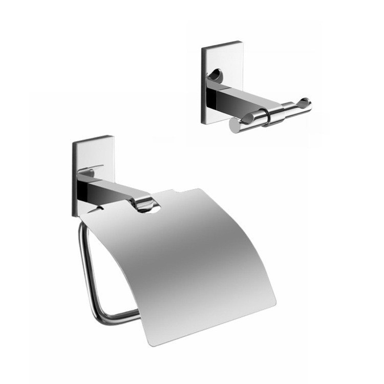 GEDY MNE325-13 MAINE AND CHROME TOILET ROLL HOLDER AND ROBE HOOK ACCESSORY SET