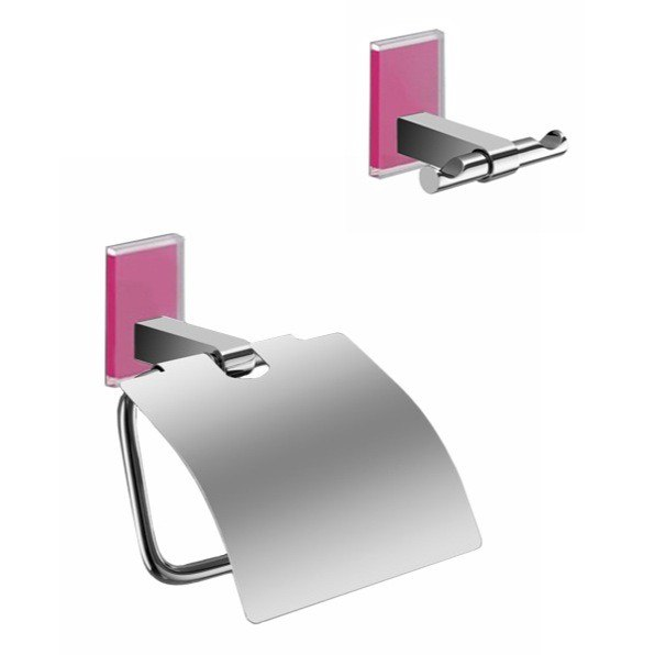 GEDY MNE325-76 MAINE AND CHROME TOILET ROLL HOLDER AND ROBE HOOK ACCESSORY SET