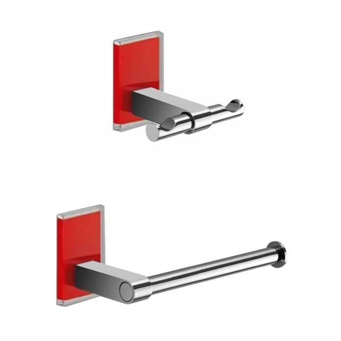 GEDY MNE326-06 MAINE AND CHROME TOILET ROLL HOLDER AND ROBE HOOK ACCESSORY SET