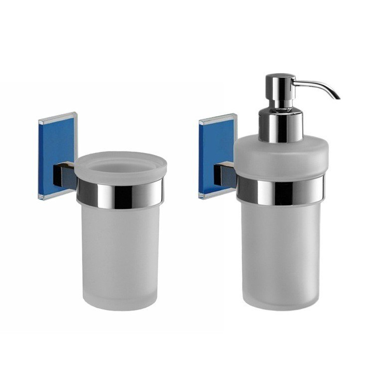 GEDY MNE500-05 MAINE AND CHROME TOOTHBRUSH TUMBLER AND SOAP DISPENSER ACCESSORY SET