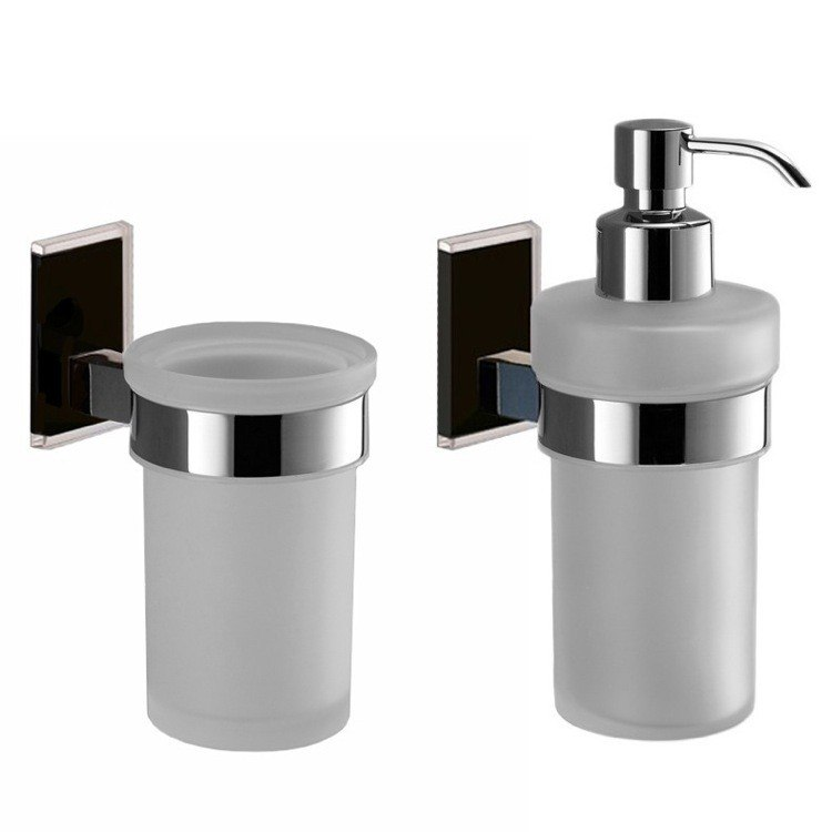 GEDY MNE500-14 MAINE AND CHROME TOOTHBRUSH TUMBLER AND SOAP DISPENSER ACCESSORY SET
