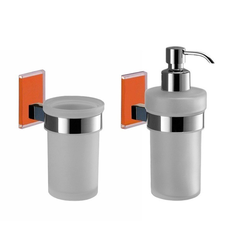 GEDY MNE500-67 MAINE AND CHROME TOOTHBRUSH TUMBLER AND SOAP DISPENSER ACCESSORY SET