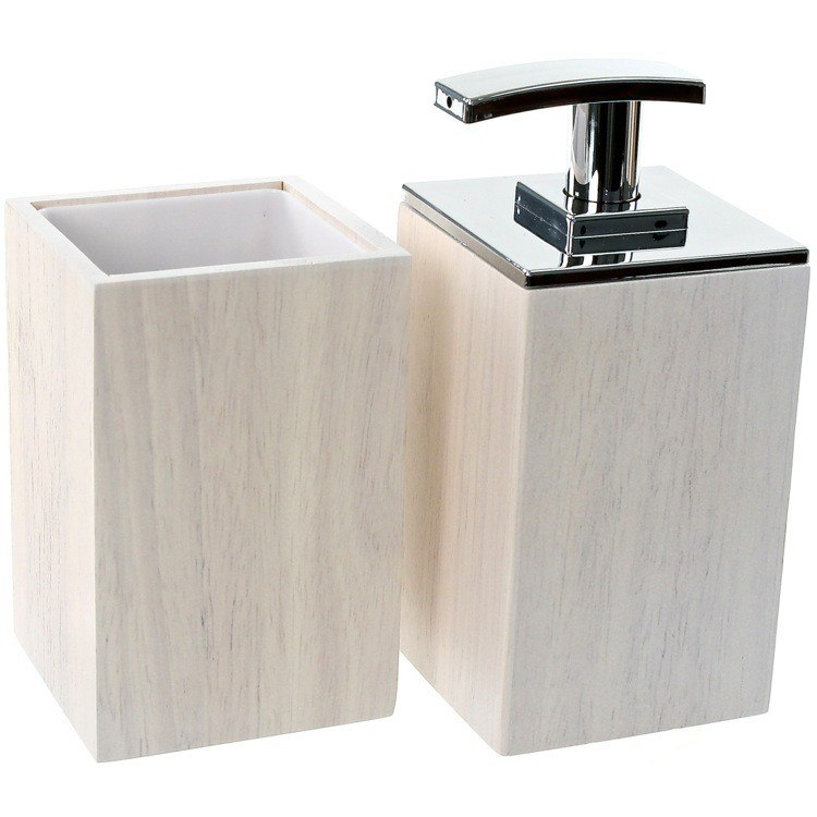 GEDY PA581-02 PAPIRO WOODEN 2 PIECE BATHROOM ACCESSORY SET