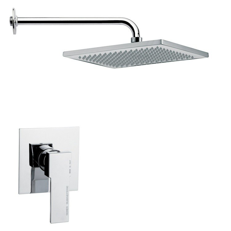 REMER SS1115 MARIO RECTANGULAR MODERN SHOWER FAUCET SET