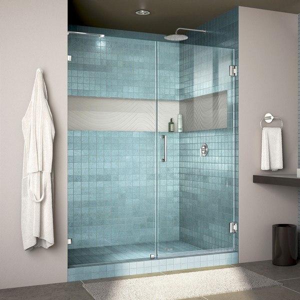 Dreamline Shdr 23537200 01 Unidoor Lux 53 W X 72 H Fully Frameless Hinged Shower Door With L Bar Dreamline