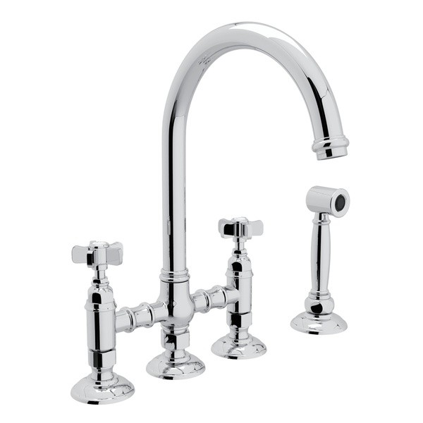 Rohl A1461xwsib 2 Country San Julio Deck Mount C Spout 3 Leg Bridge Single Hole Kitchen Faucet With Sidespray And