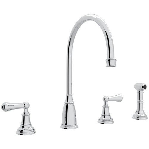 ROHL U.4736L-2 PERRIN & ROWE GEORGIAN ERA 4-HOLE C-SPOUT SINGLE HOLE  KITCHEN FAUCET WITH SIDESPRAY AND METAL LEVERS