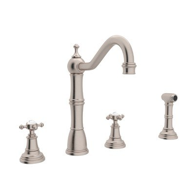 Rohl U.4775X-2 Perrin & Rowe Edwardian 4-Hole Single Hole Kitchen Faucet  with Sidespray and Five Spoke Handles